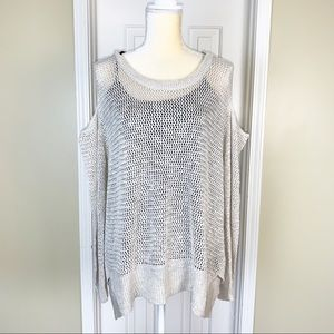 Maurices Beige Open Knit Cold Shoulder Sweater